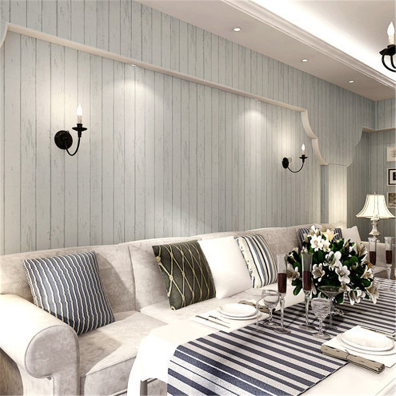 beibehang American country wallpaper bedroom living room TV wall template to do the old striped nonwoven wallpaper Mediterranean<br>