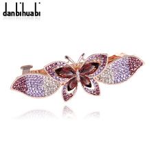 2017 Hot Sale New Insect Fashion Glass Colorful Butterfly Clip Head Jewelry For Women Gifts Barrettes Wedding Hair Accessories