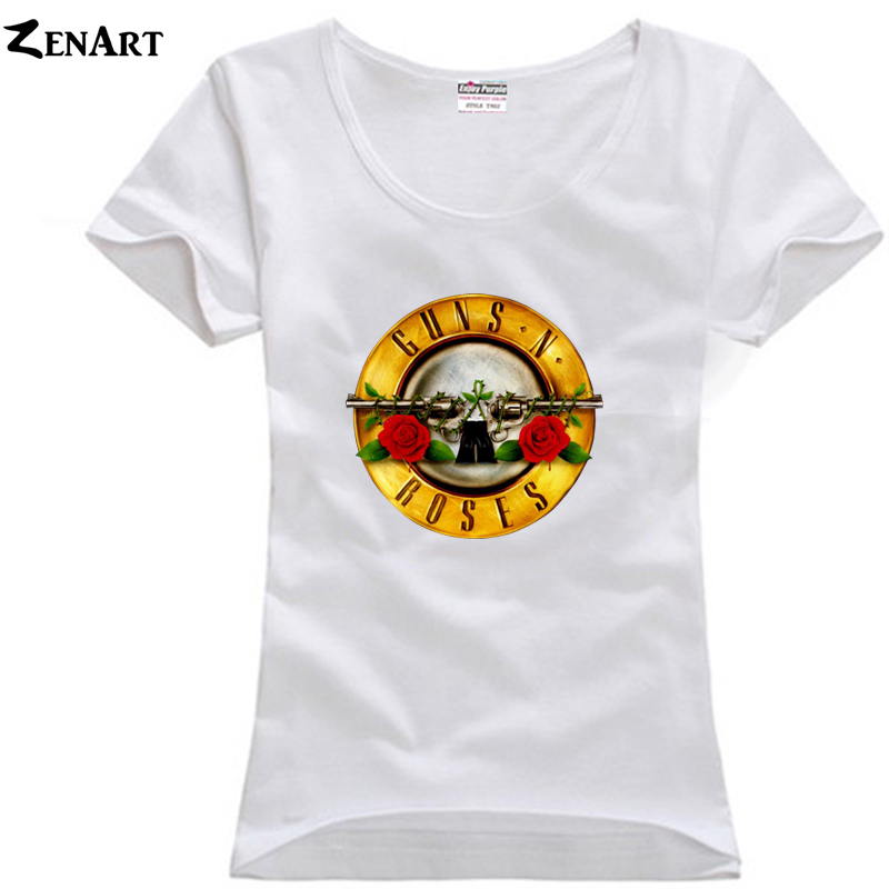 G N' R Guns N 'Roses gold plates Hard Rock Greatest Hits Bullet Logo Sl girls woman female plus size cotton short-sleeve T-shirt(China)