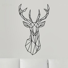 CaCar New Design Geometric Deer Head Wall Sticker Geometry Animal Series Decals Vinyl Wall Art Custom Home Decor Size L/51*86CM(China)