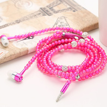 Fashion Bling Diamond Pearl Necklace Chain Earphone Stereo Earphones With Mic For iphone Samsung SmartPhone Elegant Lady Headset