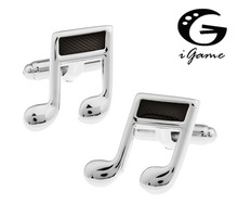 iGame Fashion Cuff Links Black Color Novelty Brass Material Musical Note Design Free Shipping(China)