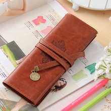 City Twilight Creative Pencil bag Vintage Retro Luxury Roll Leather Make Up Cosmetic Pen Case Pouch Purse Bag For School