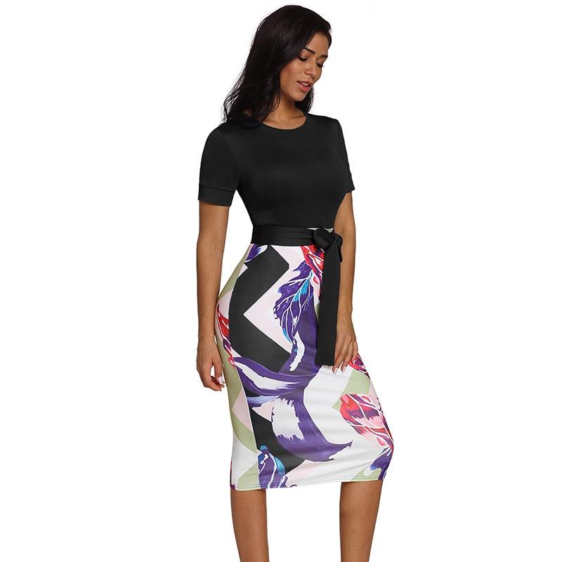 Black-Bowknot-Short-Sleeve-Printed-Sheath-Dress-LC610096-2-3