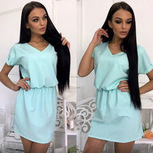 Summer Women Mini Dress Hollow Out Short Sleeve Pink White Black Blue Multi Color Dresses Above Knee Backless Cute Dress