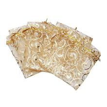 100pcs Wedding Christmas Gift Pouches Bag Organza Bags Jewelry Packaging bags Wedding Event Party Decoration Supplies 9x12cm(China)