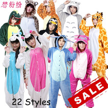 Halloween Autumn and Winter Pajama Sets Cartoon Sleepwear Women Pajama Flannel Animal Pajama Stitch Panda Unicorn Ones