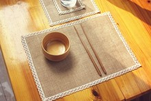 8pcs Natural jute burlap arming hot insulation place mat, Japanese-style table mat bowls mat coasters placemats literary doily
