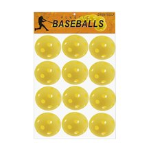 CRESTGOLF 12pcsx72mm plastic baseballs  Practice airflow Floor ball Soft Ball de with yellow and orange for choice