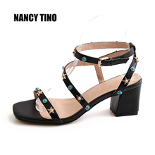 2017 Summer New Ladies Sandals Genuine Leather Sexy High-Heeled Square Head Toe Thick With Rivets Handmade Fashion Women's Shoes