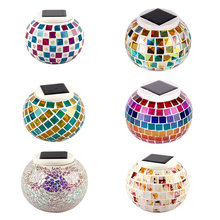 New Solar Powered Mosaic Glass Ball Garden Lights Color Changing Yard Balcony Lamps Waterproof Indoor Outdoor Light --M2