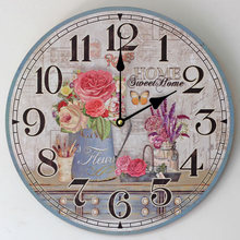 Pastoral Style Retro Wooden Wall Clock Flower arranging Art Circular sitting room Clocks Home Decor