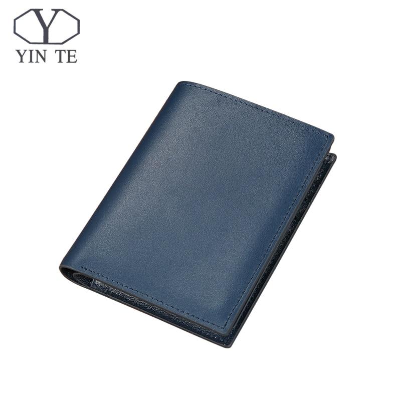 YINTE 2018 Leather Wallet Men Genuine Cow Leather Blue Wallet Two mezzanines Men Short Card Wallet Purse Portfolio T8848B      <br>