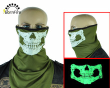 Tactical Glow Skull Face Mask Sport Headband Halloween Bicycle Bandana Paintball Ski Motorcycle Half Face Mask Neck Warmers