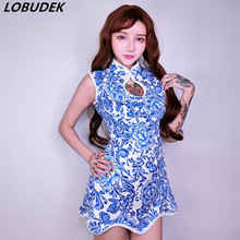Blue Retro female DS costumes Nightclub Bar Teams lead dance performance wear sexy Cheongsam JAZZ DJ show Festival stage costume(China)