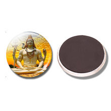 Lord Shiva Gold 30 MM Fridge Magnet Hinduism Amulet Destruction Glass Dome Magnetic Refrigerator Stickers Note Holder Home Decor(China)