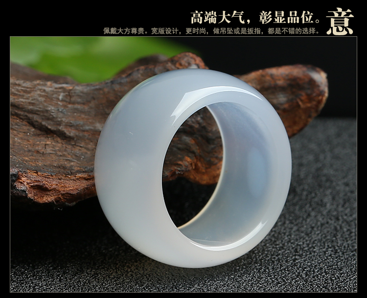 High Quality Beautiful Genuine Handmade A grade Natural White Chalcedony Pure Men Jades Rings Stone(China)