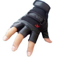 2017 best price Men Tactical Outdoor Bike Bicycle Half Finger Leather Gloves Velcro Wrist Adjustable Good friction Guantes