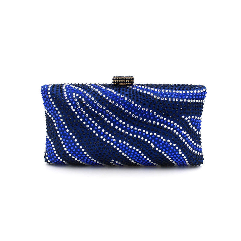 Blue Diamond Rhinestones Pyramid Crystal Evening Clutch Bag Women Party Wristlets Handbag Purse Bridal Wedding Clutches<br>