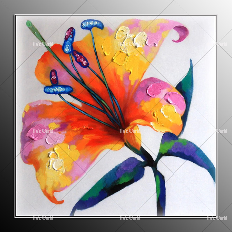 Unframed modern abstract Oil painting Fashion Home Decor Colorful Flower Wall Art Picture Canvas Oil Painting For Living Room(China (Mainland))