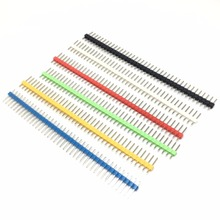 10PCS 40Pin 1x40P Male Breakable Pin Header Strip 2.54mm Long Blue Red White Green Yellow Connector 5 Colors Hot Sale(China)