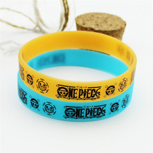 2 Colors Anime One Piece Luffy Silicone Bracelet Men Women High Quality Hologram Bracelets Jewelry Wholesale