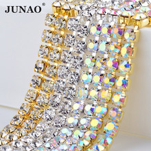 JUNAO ss 6 8 10 12 16 18 Dense Glass Crystal AB Rhinestone Cup Chain Sew On Crystal Strass Trim Banding Bridal Clothes Applique(China)
