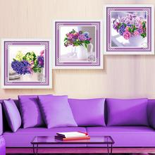 Latest styles DIY 5D Embroidery lavender Triptych Magic Cube Cross Stitch Diamond Mosaic handmade crafts Round diamond painting(China)