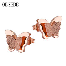 OBSEDE Stainless Steel Earrings For Women Child Rose Gold Color Frosted Double Butterfly Earrings Studs Best Jewelry Gift