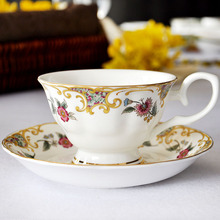 European Style Retro coffee cup set Bone china golden thread strokes ceramic cups Beautiful flowers tea cup&saucer free shipping