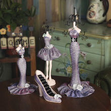 4 Pieces Charm Elegant High-heeled Lady Mannequin Jewelry Organizer Display Stand Hanging Set(China)