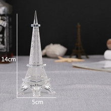 14*5cm K9 Crystal Eiffel Tower Model Pure W hite Polishes Birthday Wedding Figurine Crafts Gifts For Friend Lovers Home Decor(China)