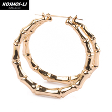 women hoop earrings basketball wives earrings large gold color big hoop earring bamboo hoop-earring ER1190(China)