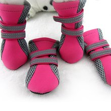 2017 New Style 4Pcs/lot  Green/Rose Pet Shoes Teddy Schnauzer Puppy Dog Shoes Cats Puppy Casual Walking Shoes Green Rose M-XL