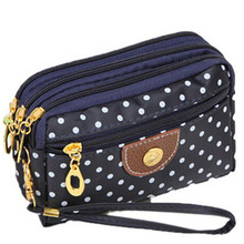 6 Colors Polka Dots Print Women Coin Purse Clutch Wristlet Wallet Bag Phone Key Case Makeup Bag Women credit card holder Tote