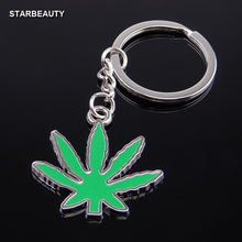 Top Quality Cool Green Leaf Keychain Men, Polish Cheap Keychain Car Wallet Simple Ring O Key Chain Women Wholesale Gifts(China)