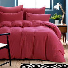 Winter thicker Bedding set solid king duvet cover 100%cotton bed sheet queen red coffee wedding bedding bed linen home textile