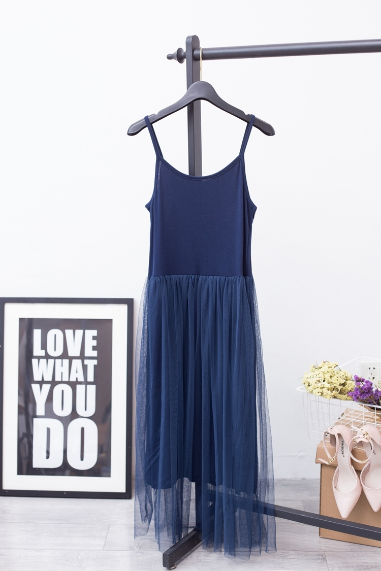 [EAM] 2017 Hot Fashion Pure Cotton Lace Split Joint Camisole Dress,5 colors available YD8100 7