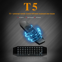 2.4Ghz Wireless 6 Axis Gyroscope T5 Mini Air Mouse Keyboard Remote Control for PC/Android Smart TV Box/Windows/MAC/Linux Black