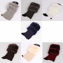 Fashion Fur Leg Warmers Women Knitted Boot Cuffs Winter Warm Gaiters Short Boot Cuffs(China)