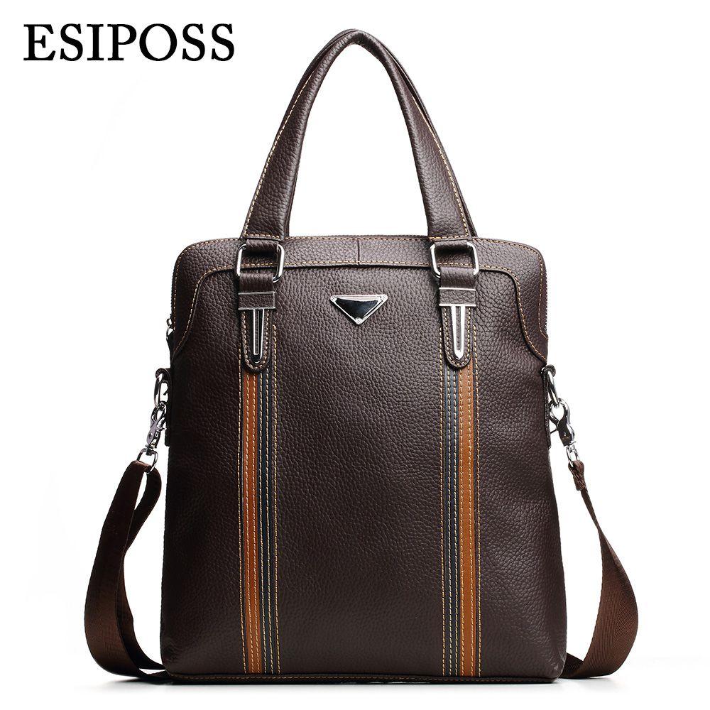 ESIPOSS Famous Brand Men Handbags 100% Cowhide Leather Mens Business Bag Mele Designer Leather Crossbody Shoulder Bags for Ipad<br><br>Aliexpress
