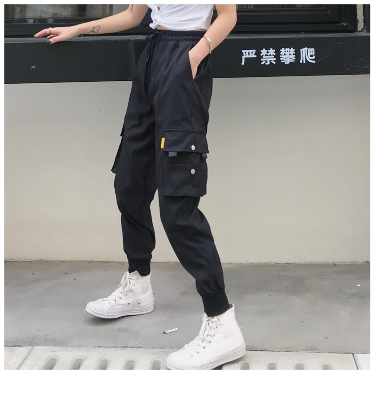 Hot Big Pockets Cargo pants women High Waist Loose Streetwear pants Baggy Tactical Trouser hip hop high quality joggers pants 6