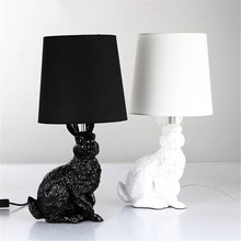 Modern Creative Resin rabbit shape Led table light,Black/White Cloth lampshade table lamp for living room bedside desk lamp Deco