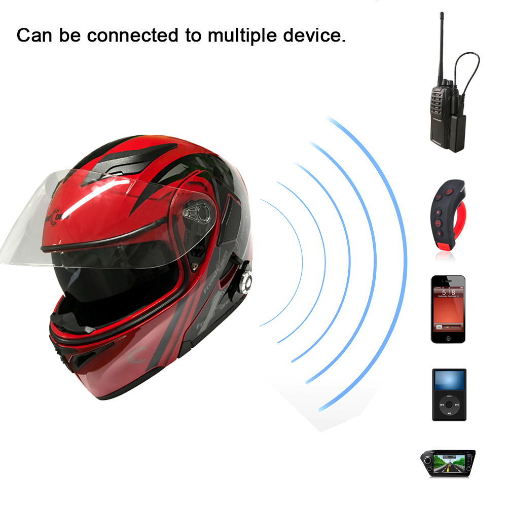 Motorcycle Helmets Headset Bluetooth 4.1+EDR Group Intercom BM2-E Built-In FM Radio Waterproof Stereo Music Remote Controller