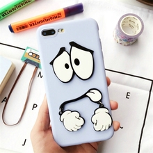 Korea Cute 3D Cartoon Kuso Face Swing Hands Case For iPhone 7 7plus 6 6s 6plus 6splus Shockproof Silicone Back Case