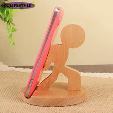 Cartoon solid wood wooden mobile phone seat strong children creative mobile phone stand wood hand care equipment manufacturers(China)