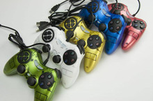 PC computer game handle USB dual shock double rocker neutral red blue and green color factory direct wholesale(China)