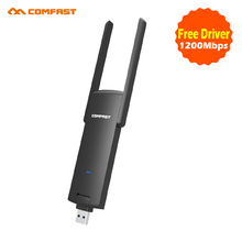 2017 comfast Powerful portable Free Driver Mini Wifi adaptor 1200Mbps 2.4G+5.8G dual brand ac Wireless USB network card CF-926AC(China)