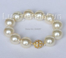 "8"" 16mm round champagne seashell pearls Bracelet magnet clasp"