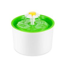 Automatic Green Flower Style Cat Dog Electric Fountain Pet Bowl Drinking Water Dispenser Drink Dish Filter